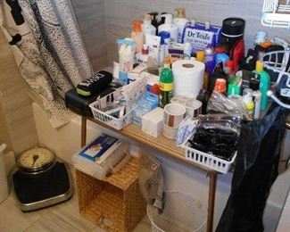 toiletries, scale, foot massager, etc.