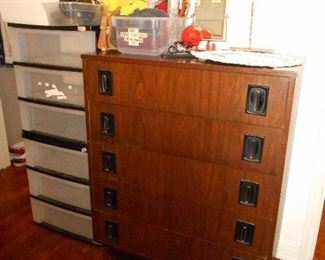 dresser, storage containers, misc.
