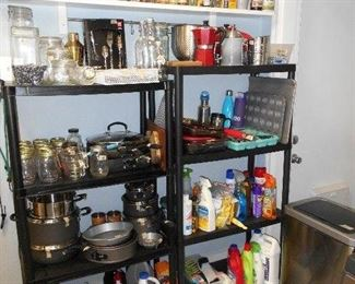spices, canning jars, pots and pans, baking sheets, etc.