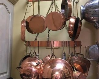 Large Collection of Copper Bowls, Collander, Copper Pans, and  (2) Super Cool Copper & Brass Wall Pot Racks
