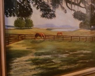 Painting of pasture w/horses by a jockey