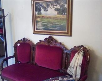 Victorian sofa, painting of horses, coat rack