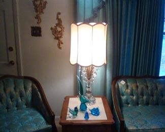 mid century furniture, brass/crystal tear drop lamp, Syroco gold candle holders on wall