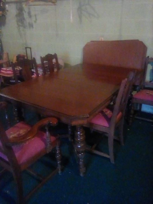 Dining room set 1930's.  This wood is beautiful