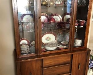 Mid century China cabinet. Contents not included
