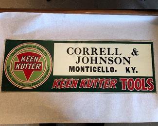 Keen Kutter Tools advertising  Cornell & Johnson Monticello KY
