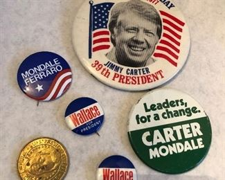 Presidential political buttons pins