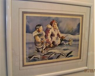 Inuit Style Print in Frame by Kathleen Lynch, Canadian Artist