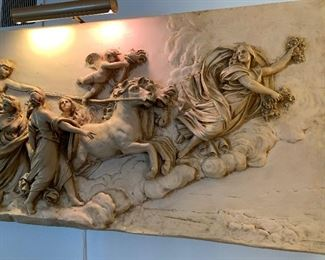 """57 x 25 1/2"""" plaster classical wall relief of Aurora by CAPRONI, BOSTON, copyright 1901.  By Gigli, modeled after the fresco by Guido Reni."""