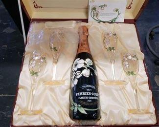 Vintage 1989 Perrier-Jouet Champagne gift set sealed bottle & 4 glasses