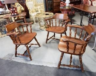 (3) Ethan Allen Solid Maple & Birch Heavy Tavern Captains Chairs