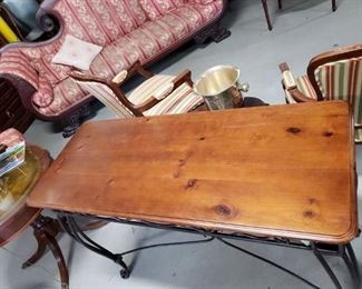 """Solid Wood Top Wrought Iron frame sofa table 48.5""""W x 19.75""""D x 32.5""""H"""