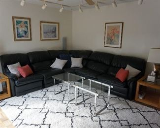 sectional, end tables, lamps, rug