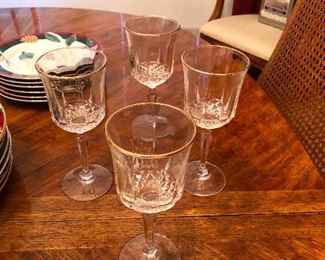 Search party of four crystal wine glasses looking for their two missing comrades