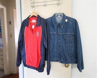 Cardinals jacket and denim jacket