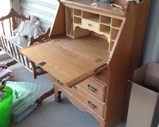 Antique oak desk with front open