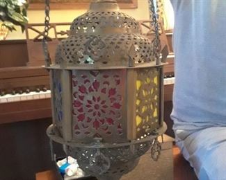 Beautiful vintage punched brass hanging lantern from Turkey
