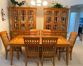 Solid Oak, American Made Dining Table, Six Chairs & China Hutches