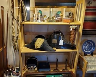 Late 1800's early 1900's U.S. Navy Officers Bicorn Hat with metal hat box, Aiguilette with metal box.