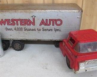 Marx Toys Metal Western Auto Truck & Trailer