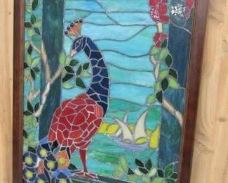 Framed Stain Glass Peacock Window