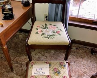 Needlepoint chair and stool