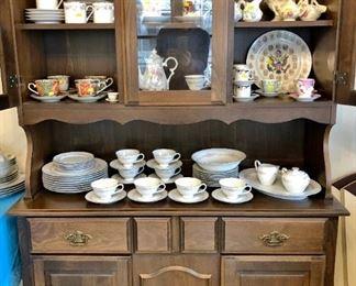 Pine hutch, china set