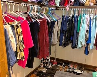 LOADS of clothes, shoes and purses!  Clothes are in nice condition!  Because of the volume of them, clothes are 50 cents each, jackets are $3, and Winter coats are $5.  There are tons of purses!  $5 each!