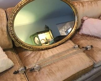OVAL MIRROR AND A PAIR OF HOLLYWOOD REGENCY GLASS TOWEL BARS/HANDLES W/LUCITE KNOBS