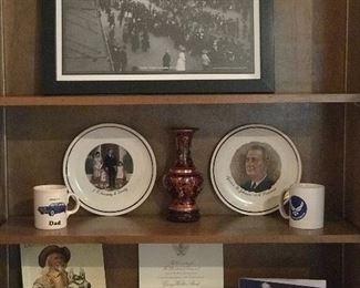 Austin Victory Parade photo print 11/11/1919       Kennedy family & LBJ collectors plates. Inaugural invitation Bush /Cheney