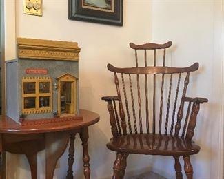 Pair maple drop leaf side tables , original MC oil on canvas, The Light Shop  Miniature, arm chair pair for dining set