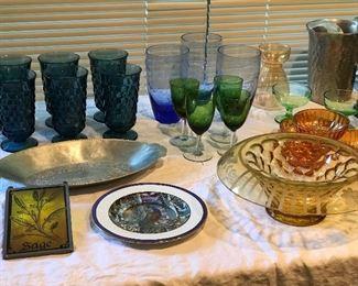 nice old glassware. blue stemmed goblets