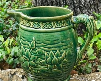large Majolica pitcher marked 30