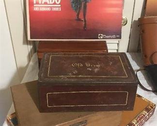 cigar boxes tin, wood and board