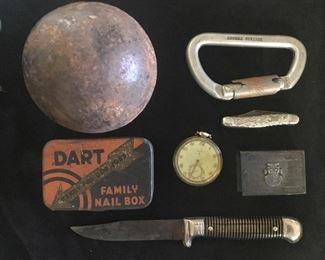 cannon ball, old knife, watch Mexican match book cover  and metal antler pocket knife, old British locking clip