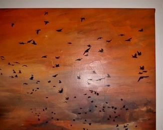 """Nina Sten Knudsen. """"If Ten Thousand Birds Came Flying My Way"""". Oil on canvas. Approximately 35"""" by 40"""". This item is available for pre-sale and is being advertised on other sites. Please contact for price.  Local pickup only."""