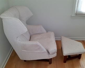 Edward Wormley for Dunbar. Janus wing chair and ottoman, circa 1957. Model 5761. Has been reupholstered. This item is available for pre-sale and is being advertised on other sites. Please contact for price.  Local pickup only.