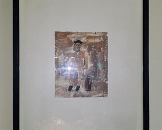 """Ignacio Iturria, """"Emigrante"""", 2000. Monoprint. One of four. Paper approximately 17"""" by 20.5"""" Outside of frame approximately 20.5"""" by 24"""". This item is available for pre-sale and is being advertised on other sites. Please contact for price. Local pickup only."""