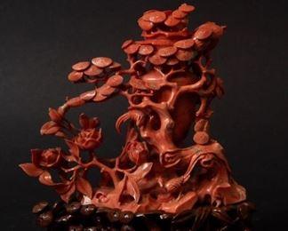 A Carved Coral Lidded Vase