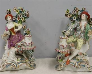 A Pair Chelsea Porcelain Figural Candle Holders
