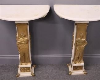 A Pair Of Finest Quality Gilt Bronze And Marble