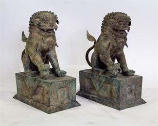 A Pair of Large Bronze Foo Dogs
