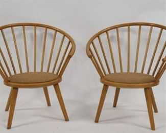 AKITAMOKKO Signed Pair Of Fan Back Chairs