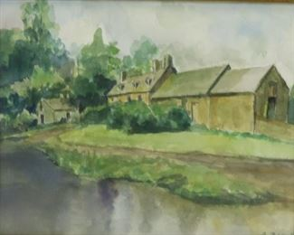 A Pollack Signed Watercolor House On River