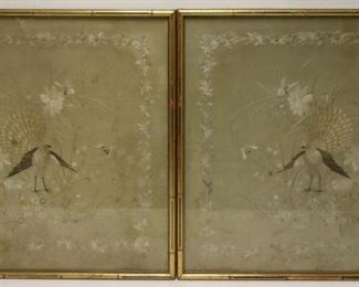 Antique Asian Silk Tapestries In Frames