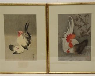 BAREI Signed Woodblock Prints Roosters