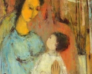 Belle GolinkoSigned Oil On Board Mother And Child