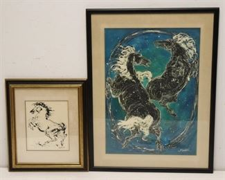 BURDICK Signed Watercolor And Ink Of Horses