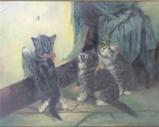 Carl G Ericson Signed Oil On Canvas Cat