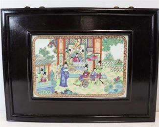 Framed Asian Porcelain Plaque